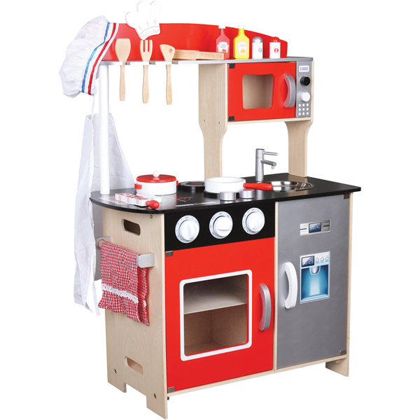 cucina in legno giocattolo con accessori
