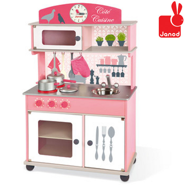 Cucina in legno giocattolo rosa janod vendita giocattoli for Cuisine en bois jouet ikea
