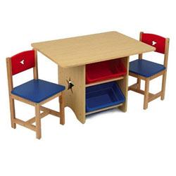 banco scuola in legno rosso e blu kidkraft 26912 vendita giocattoli bambini. Black Bedroom Furniture Sets. Home Design Ideas